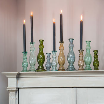 Decorative Green Glass Candlestick