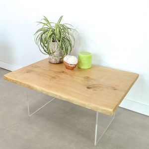 Live Edge Coffee Table On Perspex Base - furniture