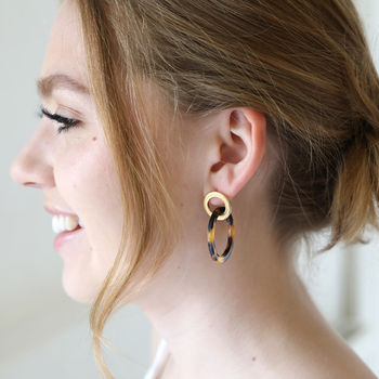 Tortoiseshell Linked Rings Earrings