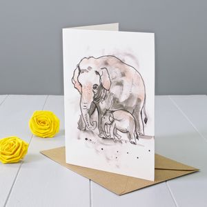 Elephant Art Greeting Card - birthday cards