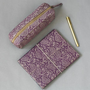 Purple Paisley Notebook And Pencil Case Set