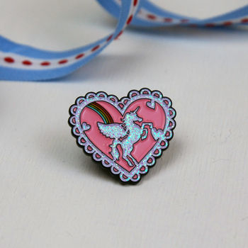 Heart Shaped Glitter Unicorn And Rainbow Pin
