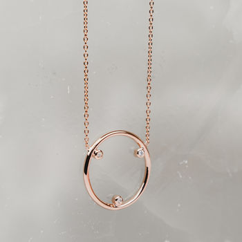 Triple Diamond Circle Necklace