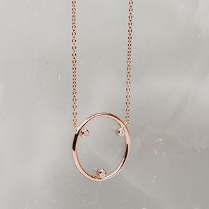 Triple Diamond Circle Necklace - contemporary jewellery