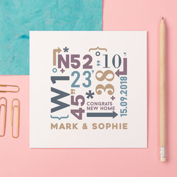 Personalised New Home Coordinates Card