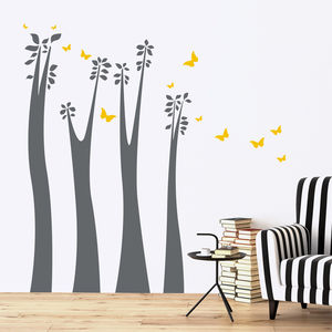 Giraffe Trees, Leaves And Butterflies Wall Stickers - decorative accessories