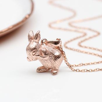 Personalised 18ct Rose Gold Easter Rabbit Necklace