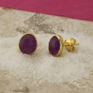 18ct Gold Vermeil Violet Quartz Stud Earrings