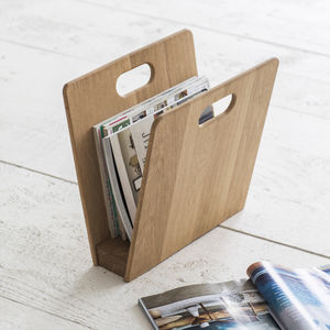 Raw Oak Magazine Rack - storage