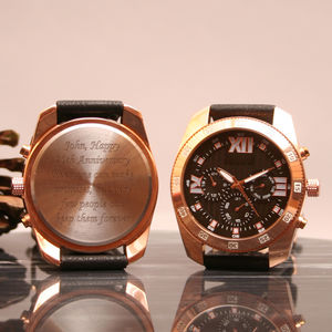Brass Multifunctional Personalised Wrist Watch - men's accessories