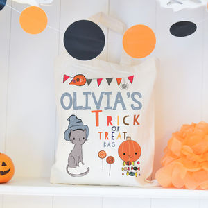 Personalised Halloween Trick Or Treat Bag - ribbon & wrap