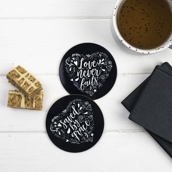 Set Of Two Love And Grace Coasters