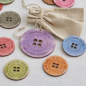 Personalised Sewing Button Message Tokens Gift For Her - home accessories