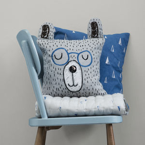 Mr Teddy Bear Organic Cushion - shop by recipient