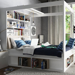 Four Poster King Bed With Storage And Shelves In White - furniture