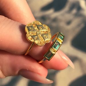 14k Gold Vermeil Chunky Deco Ring In Emerald
