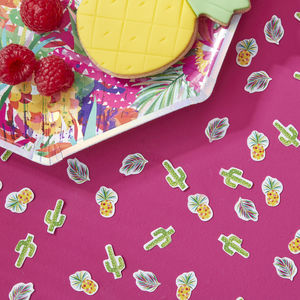 Tropical Pineapple And Cactus Table Confetti