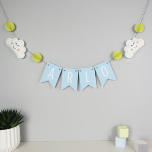Personalised Cloud Name Bunting With Honeycomb Pom Poms