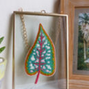 Green Tropical Leaf Embroidery Framed Art