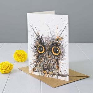 Wide Eyed Owl Greeting Card - birthday cards