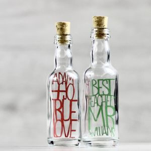 Personalised Paper Cut Typography Mini Bottles - home accessories