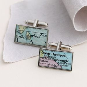 Personalised Rectangle Map Cufflinks