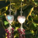 Heart And Garnet Gemstone Earrings