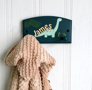 Dinosaur Coat Hook, Child's Personalised Gift - storage & organisers
