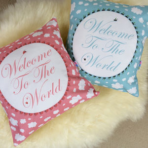 'Welcome To The World' New Baby Cushion - cushions