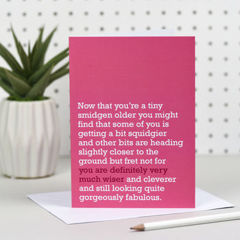 'Definitely Very Much Wiser' Birthday Card