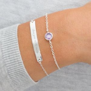 Personalised Bar And Birthstone Bracelet Set