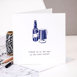 Birthday Card For Him; 'Beer Holder'