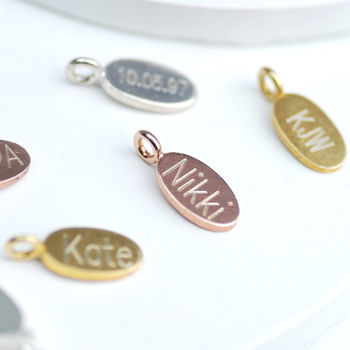 Rose Gold, Silver Or Gold Oval Disc Engraved Charm