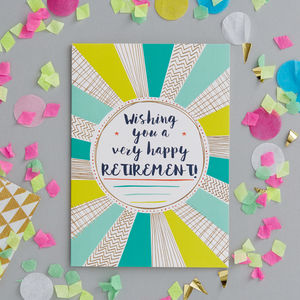 Happy Retirement Foiled Greetings Card - retirement cards