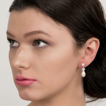 Diamante And Pearl Drop Earrings