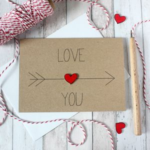 Personalised 'Love You' Arrow And Heart, Valentine Card - mother's day cards