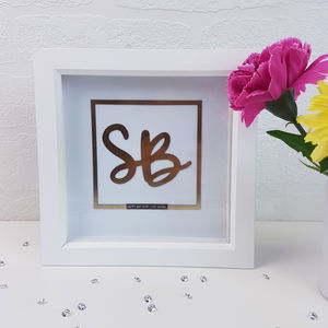 Personalised 'Chrome Effect' Initials Artwork - personalised