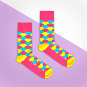 Pink, Yellow And Blue Fan Sock - socks