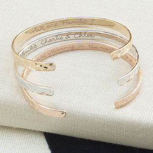 Personalised Hammered Open Bangle - bracelets & bangles
