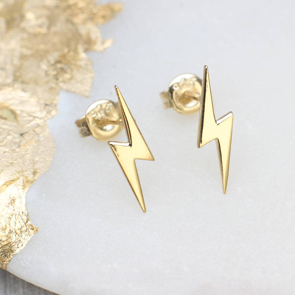 a7b0778bb 18ct gold lightning stud earrings by hurleyburley ...