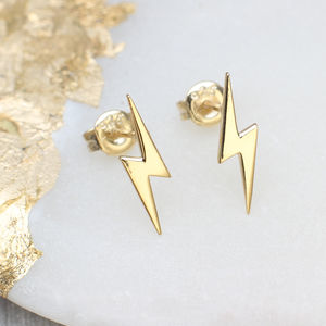 18ct Gold Lightning Stud Earrings