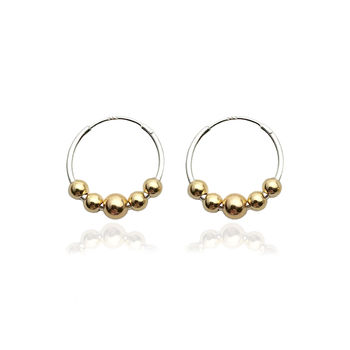 Silver Hoops With Five 9 K Gold Beads