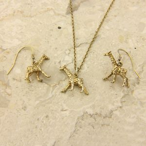 Giraffe Necklace And Earrings Set - jewellery sets