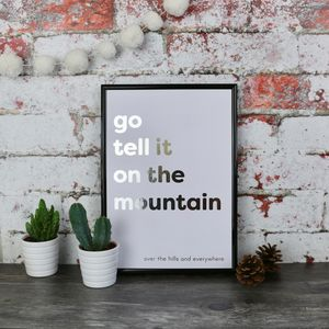 Go Tell It On The Mountain Copper Christmas Lyric Print - music