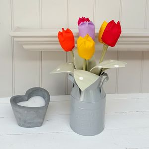 Cotton Spring Tulips In Milk Churn And Engraved Oak Tag