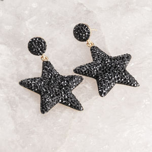 Black Swarovski Crystal Star Earrings - earrings