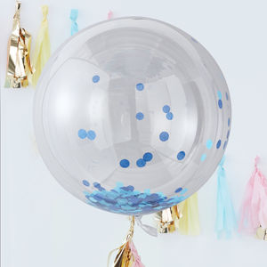 Large Blue Confetti Clear Orb Balloons Three Pack