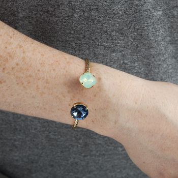 Gold Plated with Chrysolite Opal Square Crystal and Denim Blue Rivoli Crystal