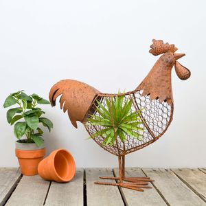 Metal Wire Garden Planter Choice Of Duck Or Cockerel - art & decorations