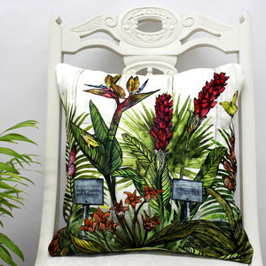 Glasshouse Tropical Botanical Print Cushion - living room